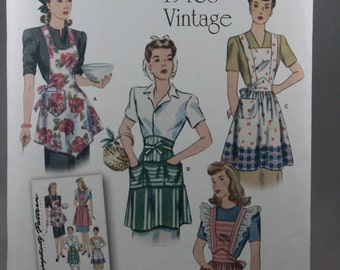 Simplicity 1221, Misses' Vintage Look Aprons Sewing Pattern, Reproduction 1940's Style Apron Pattern, Sizes S, M, L, New and Uncut
