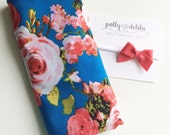SO soft---Baby girl swaddle blanket and headband set. Royal blue and coral floral with a matching wool felt bow