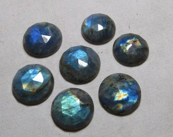 22- 25 mm - 7 pcs - Gorgeous Nice Quality AAAA Labradorite - Super Sparkle Rose Cut Faceted Round -Each Pcs Full Flashy Gorgeous Fire
