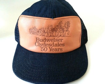 Vintage Leather and Denim Budweiser Clydesdales 50 Years Trucker Hat. Made in the USA. Nice!