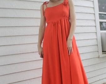 SHOP SALE 70s Orange Maxi Dress Joseph Magnin 1970s Vintage Empire Formal XS