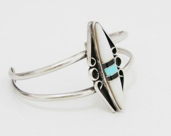 Vintage Zuni Cuff Sterling Silver Turquoise Mother of Pearl and Onyx Bracelet
