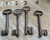 large antique gate keys - old ornate skeleton keys  - 4 antique skeleton keys (M-1).
