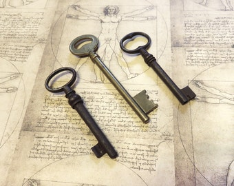 large french vintage ornate keys - 3 genuine iron and brass skeleton keys - old keys (S-39).