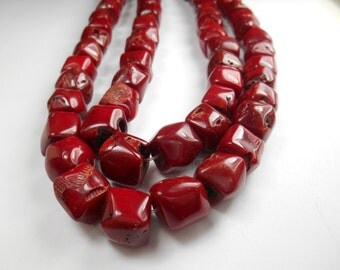 Gemstone bead, Red Coral Beads,Faceted ,14x12mm avg, 8 inch strand