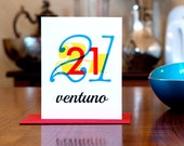 Ventuno - Number Twenty-One (21) Italian Bilingual Birthday Card with Modern Typography on 100% Recycled Paper