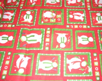 """Snowmen in red and green squares - cotton fabric -  44"""" wide - sold by the yard"""