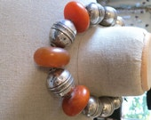 Old antique vintage HUGE silver Turkoman Afghanistan beads and faux amber beads necklace 324 grams!