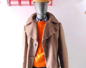 Handsome Vintage Dutch Design Men's Wool Pea Coat Style Car Coat - size 44 46 - Oversized Collar - Tailored in Holland - Herringbone Tweed