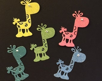 Adorable Tattered Lace Giraffe Die Cut - Glittered - Set of Five