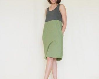 Green brown spandex - Cotton Tank Dress