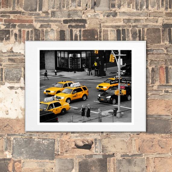 Big Apple Art Print, Pop Wall Art - Yellow Cab move through Chelsea Neighborhood in New York City, wall art home decor