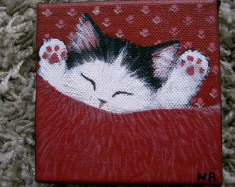 Original Painting Fluffy Kitten Cat  Naive Folk Art