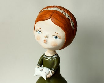 "Art doll  ""Forest"" - Ooak doll - Clay hand sculptured figurine"