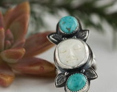 Boho Moonface and Turquoise Ring, Sterling Silver, Southwestern Ring