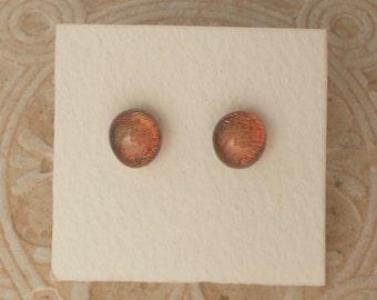 """Dichroic Glass Earrings, Root Beer  5/16""""  DGE-597"""