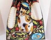 RESERVED ****Shoulder Bag Slouch Bag Large Drawstring Catkins Print***RESERVED