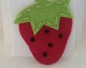4 Handmade Felt Strawberry Appliques-Red