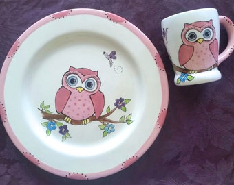 Owl Plate and Mug set - Birthday gift - New Baby Gift - newborn baby - child gift -  birth plate - christmas gift - OWL
