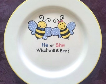 Gender reveal guestbook - new baby party gift - keepsake plate - Baby shower - Boy or Girl - Gender reveal party - Bees