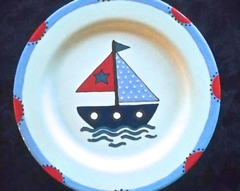 Sail Boat Plate - Child Birthday gift - New Baby Gift - newborn baby - child gift -  birth plate - christmas gift - Sail Boat