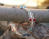 Colorful Continuous Curves Sterling Silver Bangle