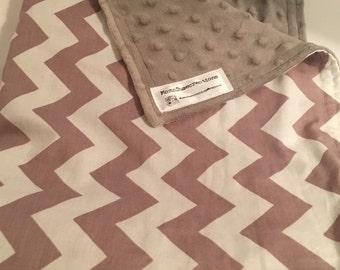 Baby Blanket Minky Gender Neutral Gray Chevron Riley Blake  minky baby blanket