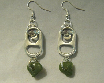 Recycled Soda Pop Can Tab Earrings Green Stones Beads