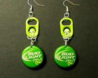 Recycled Can Tab Bottle Cap Earrings Bud Light Lime Beer