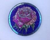 Pink rose mosaic garden gazing ball RESERVED FOR LISA