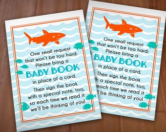 BRING A BOOK Shark Baby Shower Insert Card in Tangerine Orange and Aqua Blue- Instant Printable Download