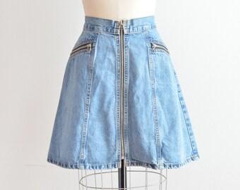 SALE / Vintage 1990s zippered JEAN skirt