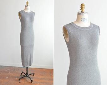 SALE / Vintage 1990s METALLIC knit maxi dress