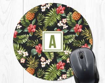Monogram Mousepad - Pineapple Mousepad - Tropical Mousepad - Round Mousepad - Cute Mousepad - Monogram Mouse Pad - Cute Mouse Pad