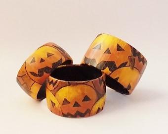 Halloween Bracelet - Spooky Jack O' Lantern Bracelet - Halloween Pumpkin Bangle - Halloween Bangle Bracelet - Creepy Halloween Jewelry