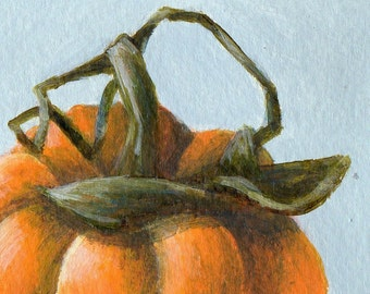 Original ACEO Painting of Pumpkin, Small Painting Art for Home Decor