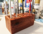 Wood, Paint Brush Holder, Art Organizer, Pen Holder, Colored Pencil Holder