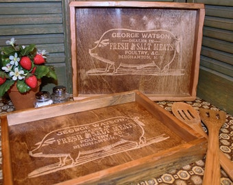 Small Rustic Vintage Advertising Wood Tray