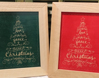 Merry Christmas Framed Wood Laser Wall Art