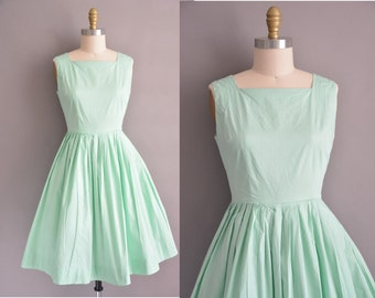 50s mint green cotton full skirt vintage dress / vintage 1950s dress