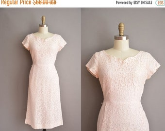 25% off SHOP SALE... 50s pink cotton lace vintage wiggle dress / vintage 1950s dress