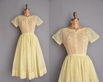 vintage 1950s dress / flocked floral chiffon dress / 50s full skirt