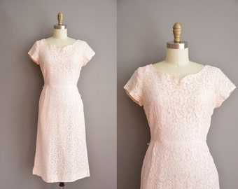 50s pink cotton lace vintage wiggle dress / vintage 1950s dress