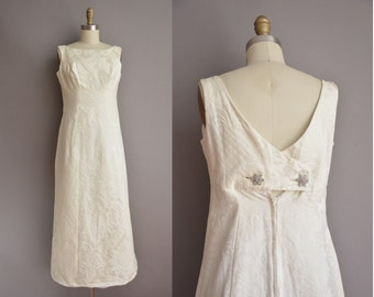 60s white empire floral brocade vintage wedding dress / vintage 1960s wedding dress