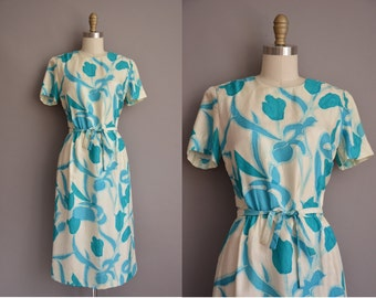 50s bold floral print vintage silk wiggle dress / vintage 1950s dress