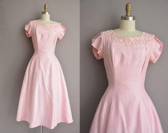50s Mike Benet pink sequin full skirt vintage dress / vintage 1950s dress