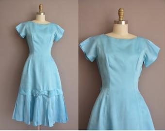 50s blue soft satin vintage fishtail dress / vintage 1950s dress