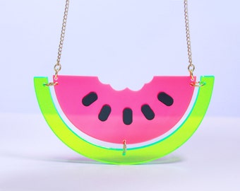 Perspex Watermelon Necklace / gifts for her / christmas gifts