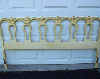 Vintage French Provincial Bedroom King Size Bed Headboard Yellow Cream