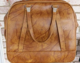 Vintage Retro Brown American Tourister Carry On Bag Luggage